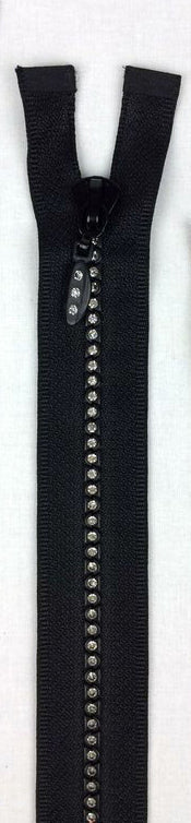 "L'orna Crystal Zipper, #5, 14"" Separating, Black"