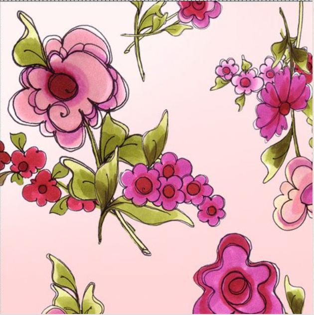 "Loralie Designs — Jumbo Floral Pink, 44/45"" Wide, By the Yard"