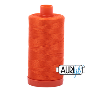 Aurifil Thread, 100% Cotton, Neon Orange #1104, 50 wt, 1422 yards