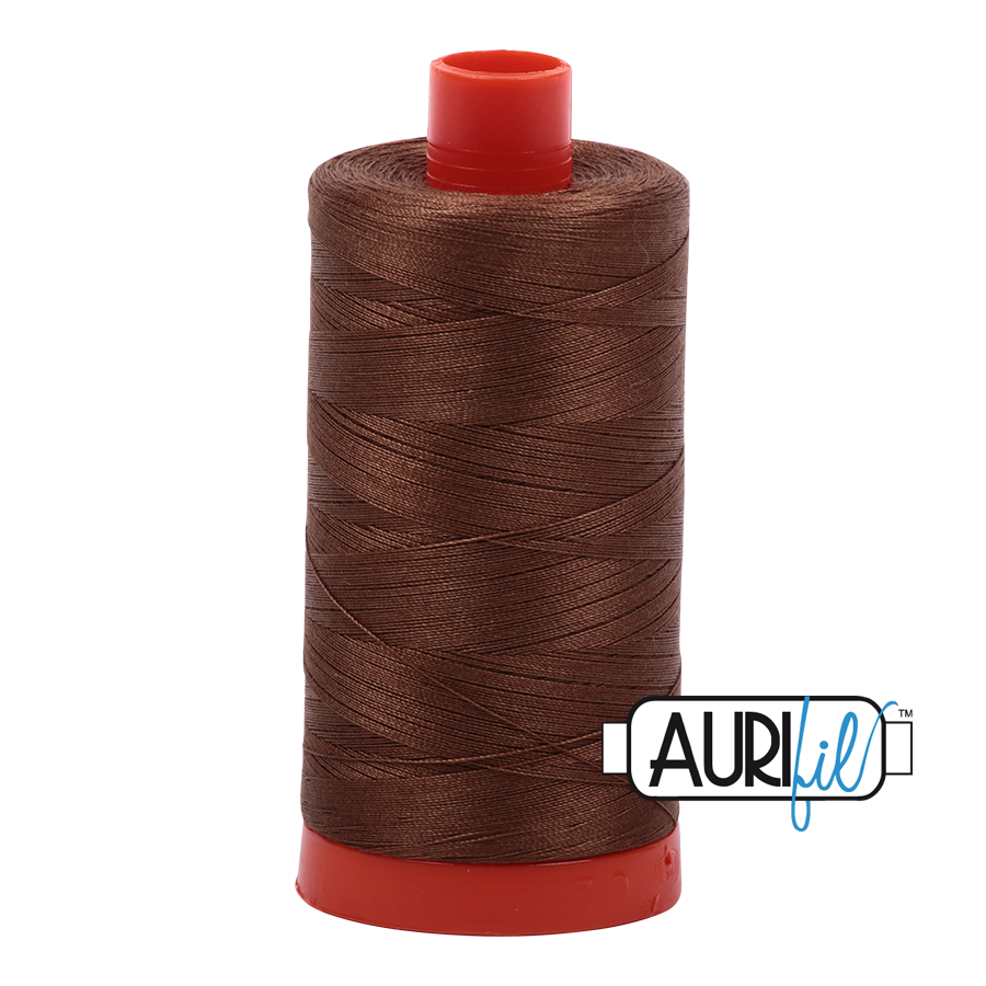 Aurifil Thread, 100% Cotton, Dark Antique Gold #2372, 50 wt, 1422 yards