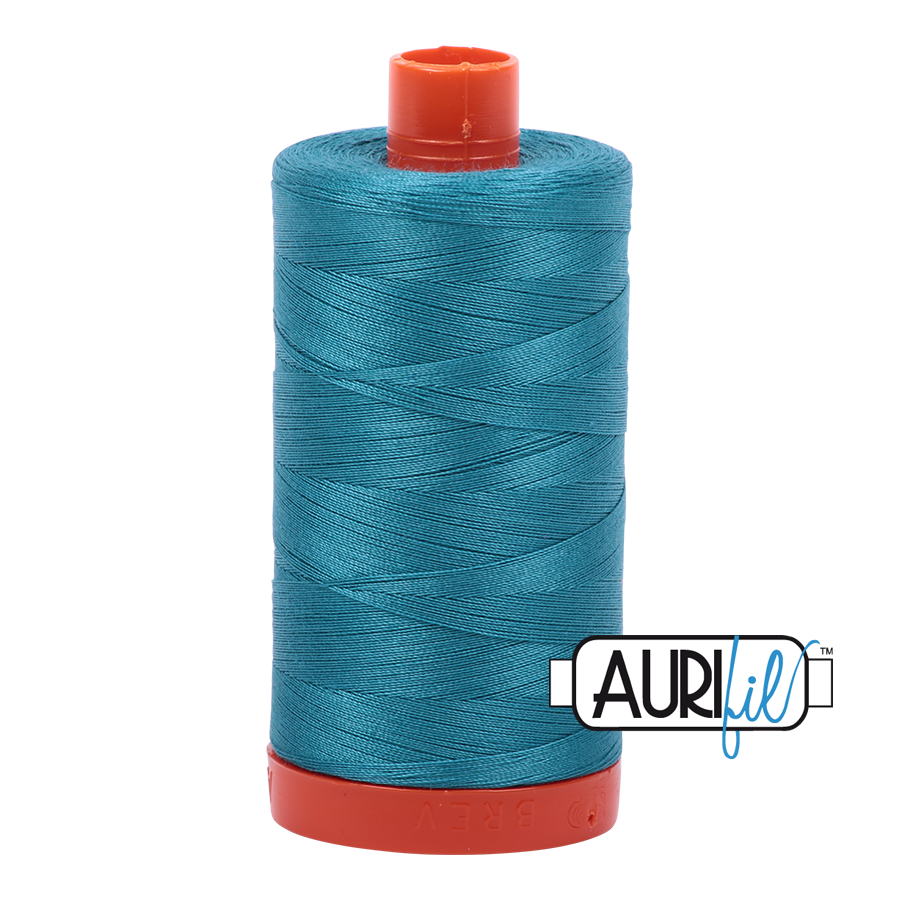 Aurifil Thread, 100% Cotton, Dark Turquoise #4182, 50 wt, 1422 yards