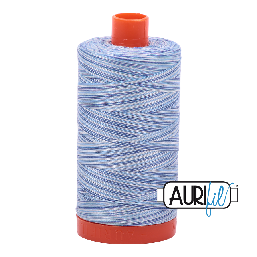 Aurifil Thread, 100% Cotton, Variegated Storm at Sea #4655, 50 wt, 1422 yards