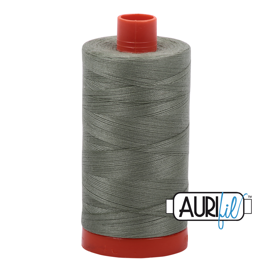 Aurifil Thread, 100% Cotton, Military Green #5019, 50 wt, 1422 yards