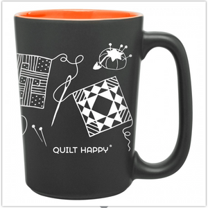 Quilting Scribbles Mug, Orange, by Quilt Happy