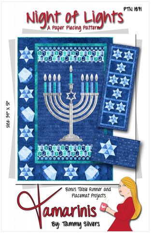 Night of Lights — Hannukah Wallhanging, Table Runner and Placemats by Tammy Silvers