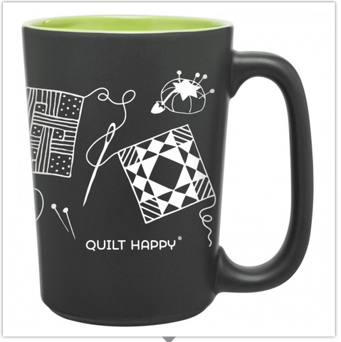 Quilting Scribbles Mug, Green, by Quilt Happy