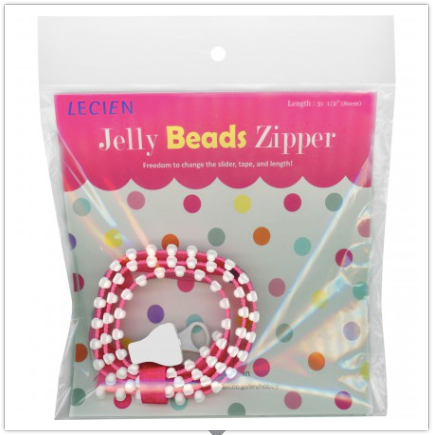 "Jelly Beads Zipper, Pink and White, 31-1/2"" Long with One Slider by Lecien Japan"