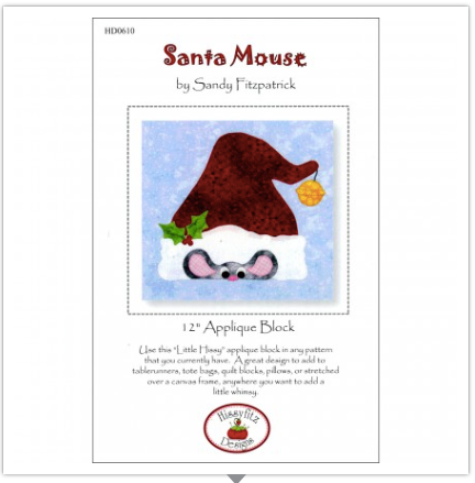 "Santa Mouse 12"" Appliqué Pattern by Sandy Fitzpatrick for Hissyfit Designs"