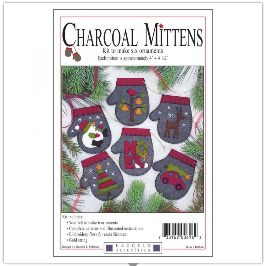 Charcoal Mittens Pattern and Fabric Kit by Rachel Pellman for Rachel's of Greenfield