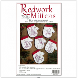 Redwork Mittens Ornament Kit by Rachel Pellman for Rachel's of Greenfield