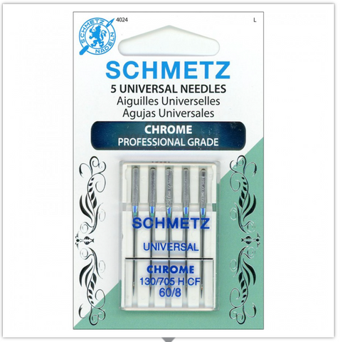 SCHMETZ® Chrome Professional Grade Sewing Machine Needles, Size 60/8, Package of 5