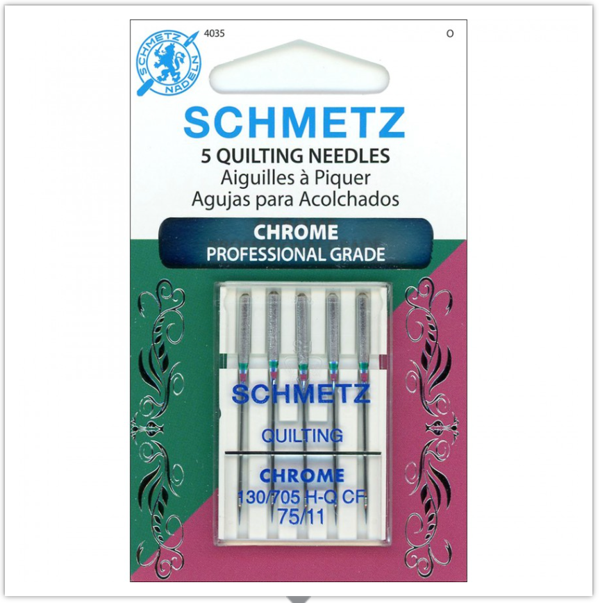 SCHMETZ® Chrome Quilting Professional Grade Sewing Machine Needles, Size 75/11, Package of 5