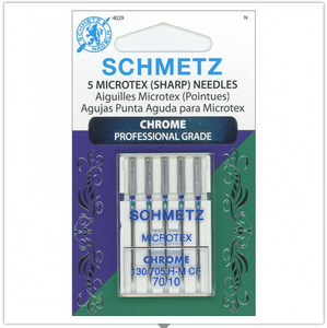SCHMETZ® Chrome Microtex Professional Grade Sewing Machine Needles, Size 70/10, Package of 5