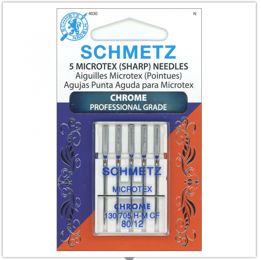 SCHMETZ® Chrome Microtex Professional Grade Sewing Machine Needles, Size 80/12, Package of 5