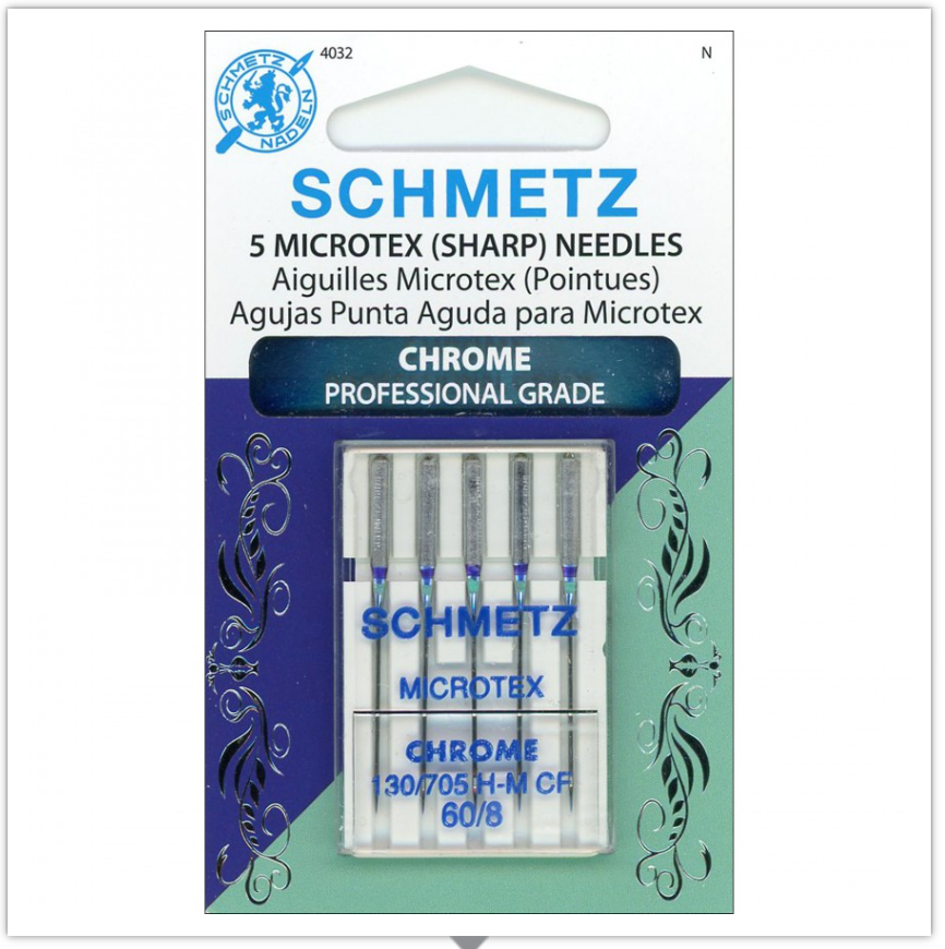 SCHMETZ® Chrome Microtex Professional Grade Sewing Machine Needles, Size 60/8, Package of 5