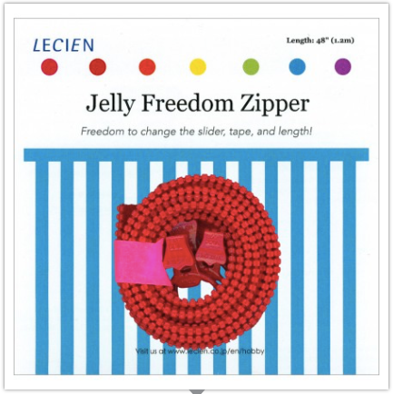"Jelly Freedom Zipper, 48"" Zipper Tape with 3 Sliders, Red"