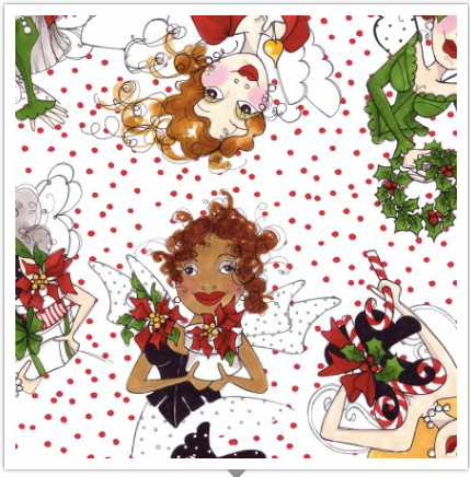 Loralie Designs — Fairy Merry Christmas, Fairies with Red and White Polka Dot Background, By the Yard