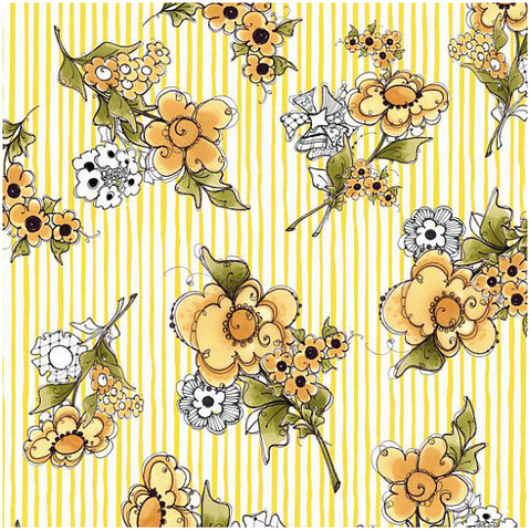 Loralie Designs -- Flower Stripe White and Yellow Fabric, By the Yard