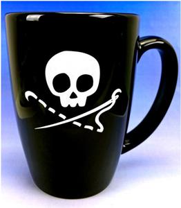 Sewing Skull Mug, 14 ounces, Black and White