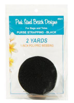 Purse Strapping, 2 Yards, Pink Sand Beach Designs, Black