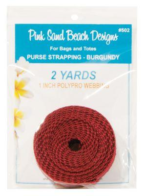 "Purse Strapping, 1"" wide by 2 Yards Long, Pink Sand Beach Designs, Burgundy"
