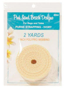 "Purse Strapping, 1"" Wide by 2 Yards Long, Pink Sand Beach Designs, Ivory"