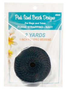 "Purse Strapping, 1"" Wide by 2 Yards Long, Pink Sand Beach Designs, Navy"