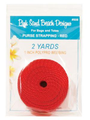 "Purse Strapping, 1"" Wide by 2 Yards Long, Pink Sand Beach Designs, Red"