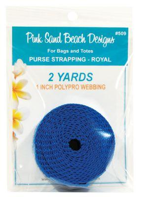 "Purse Strapping, 1"" Wide by 2 Yards Long, Pink Sand Beach Designs, Royal Blue"