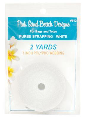 "Copy of Purse Strapping, 1"" Wide by 2 Yards Long, Pink Sand Beach Designs, White"
