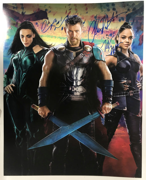 Chris Hemsworth, Cate Blanchett & Tessa Thompson Signed Autographed