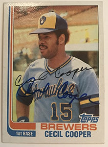 Cecil Cooper Signed Autographed 1982 Topps Baseball Card - Milwaukee Brewers