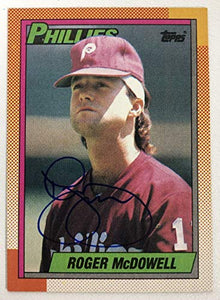 Roger McDowell Signed Autographed 1990 Topps Baseball Card - Philadelphia Phillies