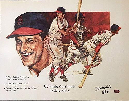 Stan Musial Signed Autographed 14x18 Lithograph w/HOF Inscription - Stan Musial Authenticated