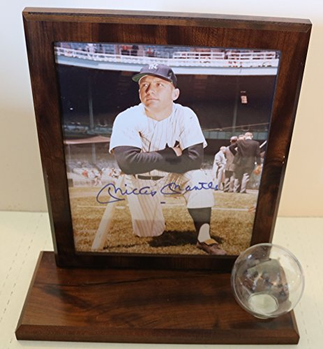 Mickey Mantle Signed Autographed Glossy 8x10 Photo In Wood Plaque Display - COA Matching Holograms