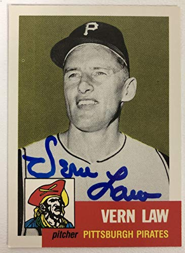 Vern Law Signed Autographed 1953 Topps Archives Baseball Card - Pittsburgh Pirates