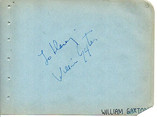 William Gaxton (d. 1963) Signed Autographed Vintage Autograph Album Page