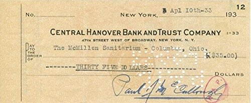 Paul McCullough (d. 1936) Signed Autographed Vintage Personal Check