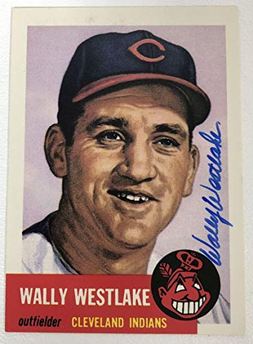 Wally Westlake Signed Autographed 1953 Topps Archives Baseball Card - Cleveland Indians