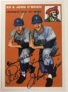 Ed & John O'Brien Signed Autographed 1954 Topps Archives Baseball Card - Pittsburgh Pirates
