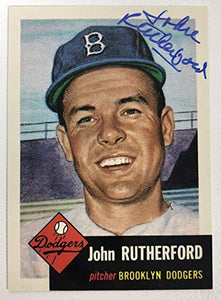 John Rutherford Signed Autographed 1953 Topps Archives Baseball Card - Brooklyn Dodgers