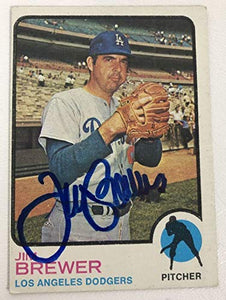 Jim Brewer Signed Autographed 1973 Topps Baseball Card - Los Angeles Dodgers