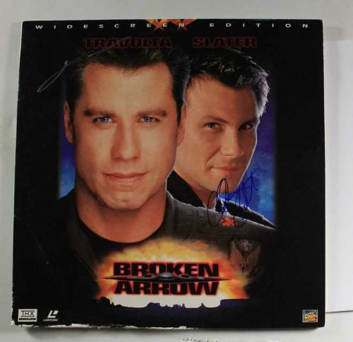 John Travolta & Christian Slater Signed Autographed 'Broken Arrow' LaserDisc Cover - COA Matching Holograms