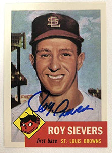 Roy Sievers Signed Autographed 1953 Topps Archives Baseball Card - St. Louis Browns