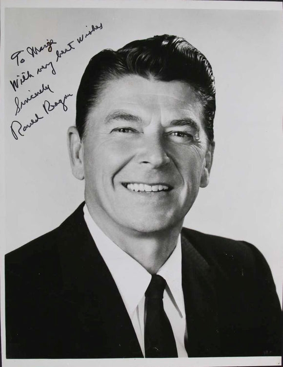 Ronald Reagan Signed Autographed Glossy 8x10 Photo - COA Matching Holograms