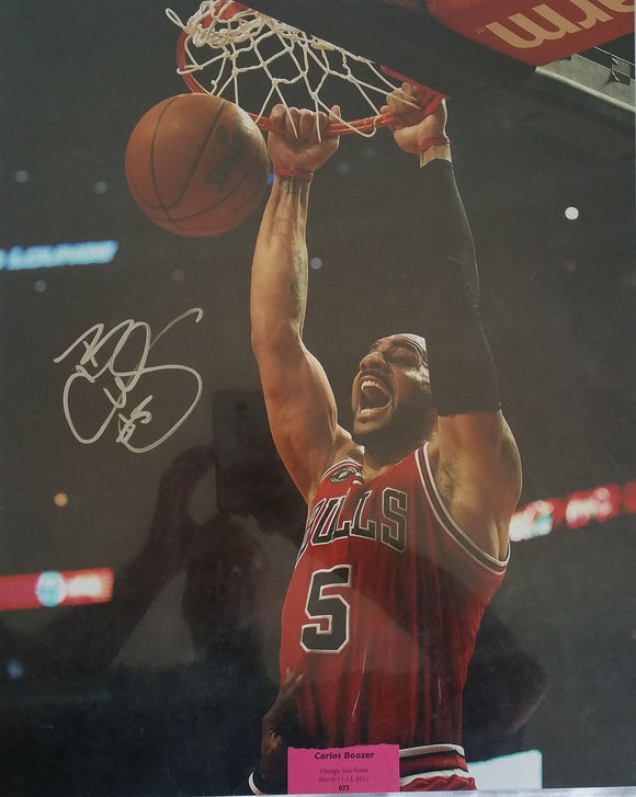 Carlos Boozer Signed Autographed Glossy 16x20 Photo - Chicago Bulls
