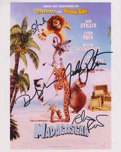 "Ben Stiller, Chris Rock, David Schwimmer & Jada Pinkett-Smith Signed Autographed ""Madagascar"" Glossy 8x10 Photo - COA Matching Holograms"