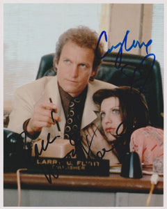 "Woody Harrelson & Courtney Love Signed Autographed ""The People vs. Larry Flynt"" Glossy 8x10 Photo - COA Matching Holograms"