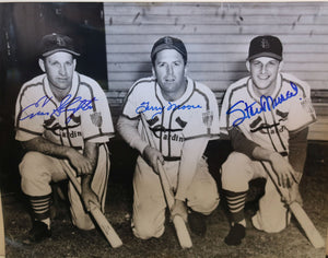 Stan Musial, Terry Moore, Enos Slaughter Signed Autographed Glossy 11x14 Photo St. Louis Cardinals - COA Matching Holograms