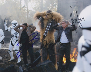 "Harrison Ford, John Boyega & Peter Mayhew Signed Autographed ""Star Wars"" Glossy 8x10 Photo - COA Matching Holograms"